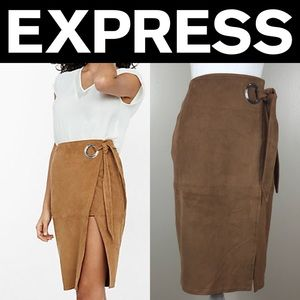 ✨NWT✨Express Faux Suede Wrap Pencil Skirt